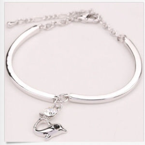 Jewelry - Silver Bracelet Dolphin Rhinestone Elbow Beads